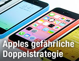 Mehrere Apple Iphones 5C in verschiedenen Farben