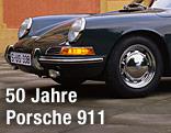 Scheinwerfer und Kühlerhaube eines Porsches 911 der ersten Serie