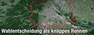 Satellitenansicht von Wien und Umgebung