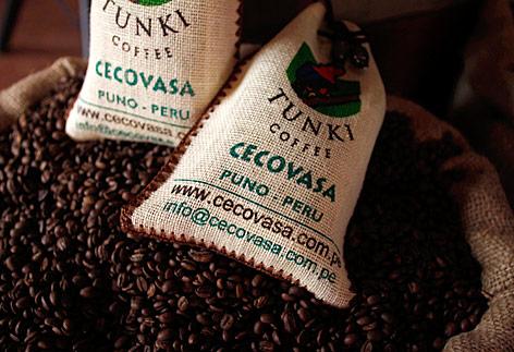 Peruanische Kaffesäcke