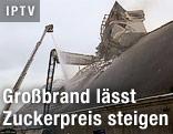 Nachlöscharbeiten bei der zerstörten Zuckerfabrik