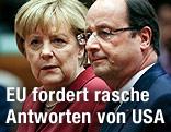 Französischer Präsident Francois Hollande und die deutsche Kanzlerin Angela Merkel