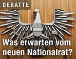Wappen der Republik Österreich im Plenarsaal des Parlaments