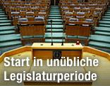 Blick in den Plenarsaal des Parlaments vom Rednerpult aus