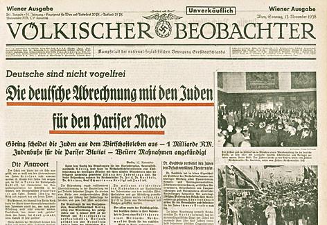 """Ausschnitt des Titelblattes der Zeitung """"Völkischer Beobachter"""" vom 13. November 1938"""