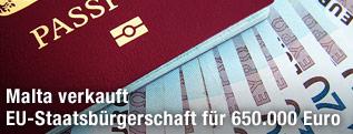 Reisepass und Euroscheine