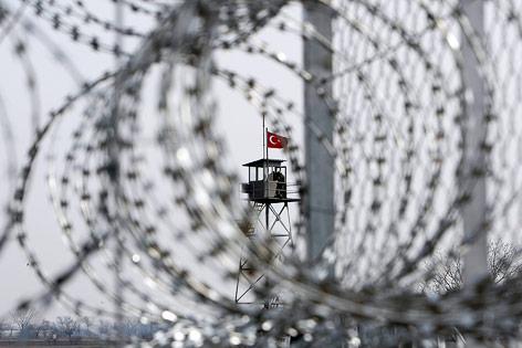 Grenzzaun zwischen Griechenland und der Türkei nahe Orestiada