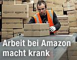 Amazon-Arbeiter mit Amazon-Schachteln