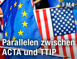Die Flaggen der USA und der Europäischen Union