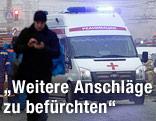 Rettungskräfte nach der Explosion