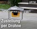 Eine Amazon-Drohne mit Paket