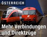 Zwei Zuggarnituren der ÖBB auf dem Wiener Westbahnhof