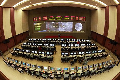Kontrollraum der chinesischen Raumfahrtzentrum in Peking