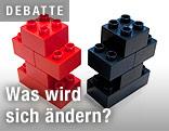 Roter und schwarzer Legostein