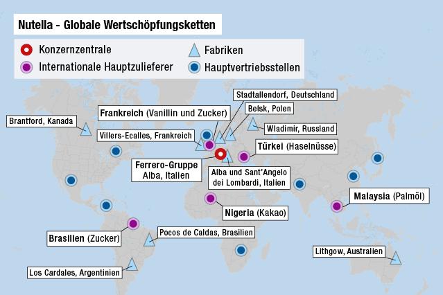 Karte zeigt die weltweiten Nutella-Produktionsstandorte