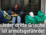 Ein Obdachloser isst