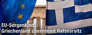 Griechische und EU-Fahne