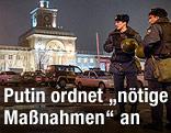Sicherheitskräfte vor Bahnhof in Wolgograd