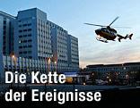 Hubschrauber landet am Krankenhaus von Grenoble