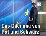 Abgeordneter betritt das Berlaymont-Gebäude in Brüssel
