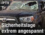 Durch Explosion zerstörtes Fahrzeug