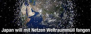 Künstlerische Darstellung von Weltraumschrott