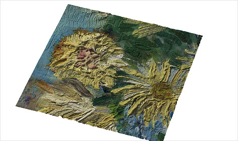 Eine im 3D-Drucker entstandene Kopie eines Gemäldes