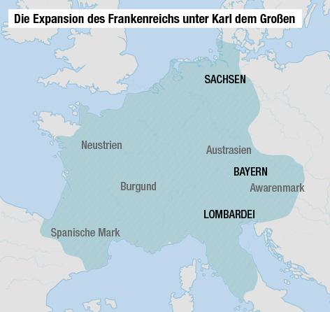 Ausdehnung des Frankenreichs unter Karl dem Großen