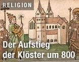 Zeichnung zeigt Kemptener Kloster und Karl den Großen