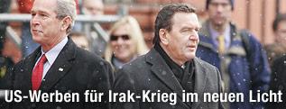 George W. Bush, und der deutsche Kanzler Gerhard Schröder