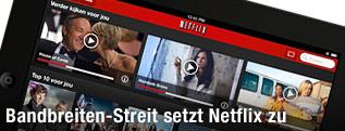 Netflix-Website auf einem Tablet