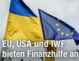 Ukrainische und EU-Fahne