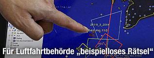 Karte der vermuteten Absturzstelle