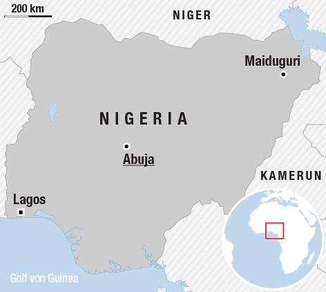 Karte zeigt Nigeria