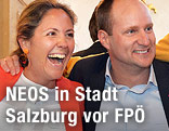 Matthias Strolz (NEOS-Parteivorsitzender) und NEOS-Kandidatin Barbara Unterkofler