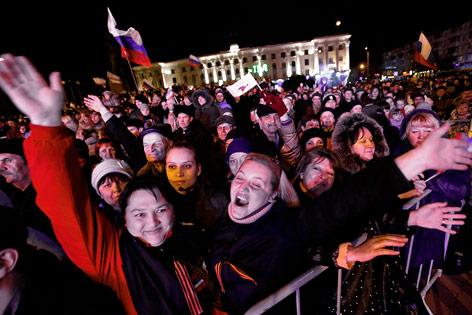Freude bei pro-russischen Krim-Bewohnern