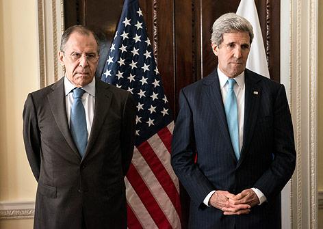 Russlands Außenminister Sergej Lawrow und US-Amtskollegen John Kerry