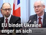 Arseniy Yatsenyuk und Herman Van Rompuy
