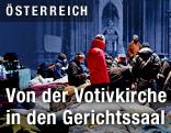Flüchtlinge in der Wiener Votivkirche auf