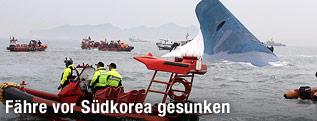 Gekentertes Schiff vor Südkorea