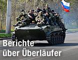 Panzer mit russischer Flagge