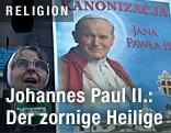 Frau neben Plakat mit Papst Johannes Paul II