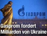 Gasprom-Logo auf einem Gebäude
