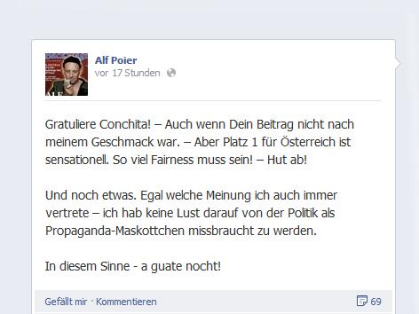 Facebook-Statusmeldung von Kabarettist Alf Poier