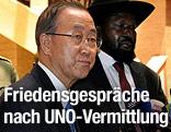 Südsudanesischer Präsident Salva Kiir und UNO-Generalsekretär Ban Ki Moon