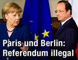Die deutsche Bundeskanzlerin Angela Merkel und mit dem französischen Präsidenten Francois Hollande