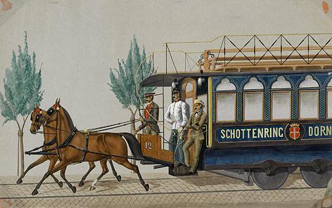 Aquarell zeigt Pferdetramway Schottenring–Dornbach,1868
