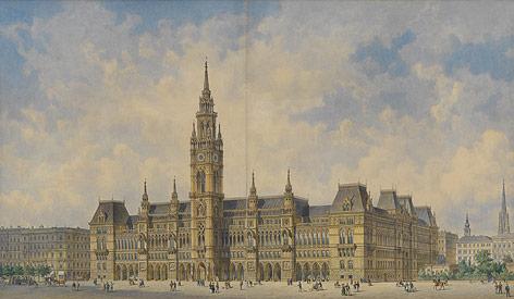 Siegerentwurf für das neue Wiener Rathaus 1869 von Friedrich von Schmidt