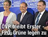 Die Spitzenkandaten Othmar Karas (ÖVP), Ulrike Lunacek (Grüne) und Harald Vilimsky (FPÖ)