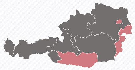 Österreichkarte zeigt die stärkste Partei in den Bundesländern